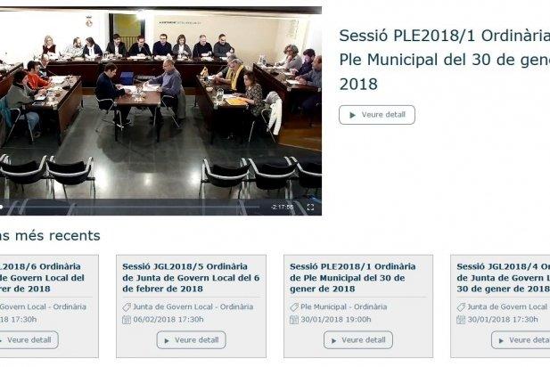 Imatge del portal municipal de vídeo actes