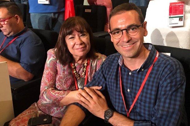 Giménez, al congrés del PSOE, amb la nova presidenta Cristina Narbona
