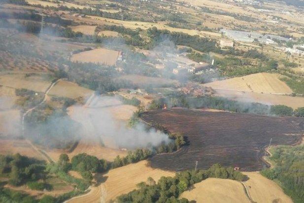 Visa aèria de l'incendi de Sentmenat