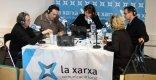 El director del BRAM!, Joan Pere Ventura, amb l'alcalde i la regidora de Cultura