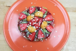 Falsa pizza de fruites de Quins fogons