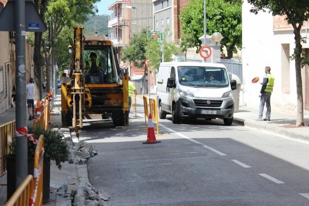 Imatge d'arxiu d'obres a la carretera de Sentmenat / C. Diaz