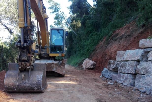 Els treballs per prolongar l'escullera del camí de Canyelles compten amb finançament del projecte Boscos del Vallès