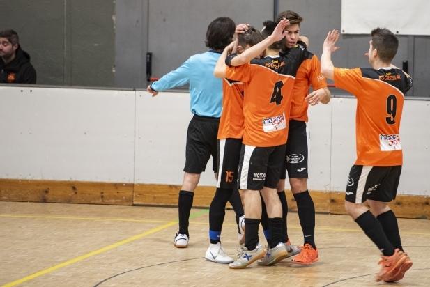 Els jugadors del FS Castellar celebren el primer gol del partit.