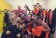 Els jugadors del FS Castellar celebren la victòria al camp del Rosario Central.