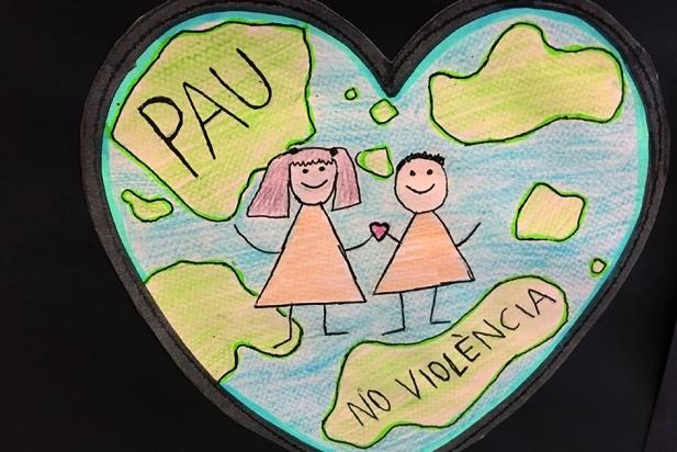 Dibuix d'un alumne del Joan Blanquer amb motiu del Dia de la Pau
