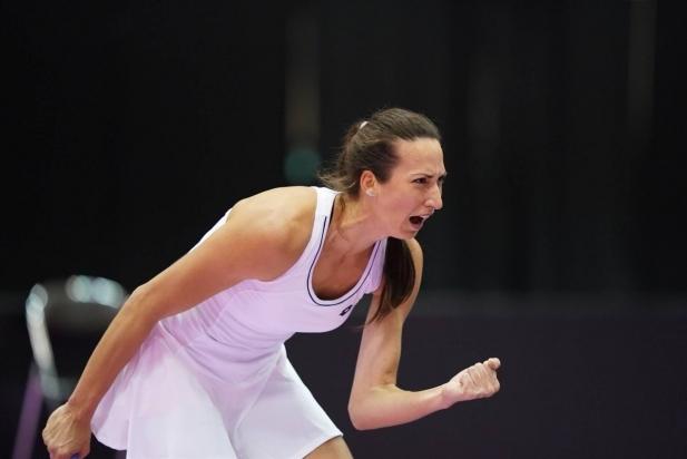 Georgina Garcia celebre la victòria en un dels partits individuals al Japó.