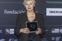 Teresa Font, muntadora. Recollint el premi Premi per una Trajectòria Professional al Festival de Cine por Mujeres. || CEDIDA