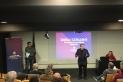 Un instant de la conferència organitzada per la Penya i la Confederació Mundial de Penyes