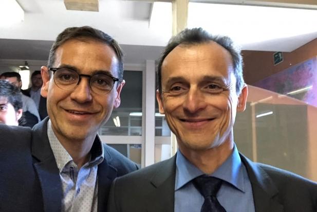 Ignasi Giménez i Pedro Duque a l'Observatori Astronòmic de Sabadell