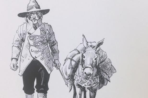 Robert Louis Stevenson i la burra Modestina en una de les il·lustracions de Joan Mundet.  || J. MUNDET