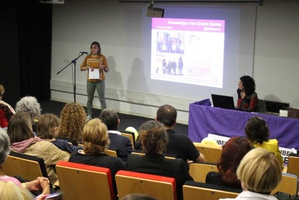 Núria Raspall (esq) i Dolors Ruiz, 4 i 2 de la candidatura d'ERC, dimecres passat - R.G.