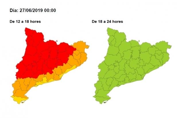 Per demà, el perill és alt a la nostra comarca entre les 12 i les 18 hores