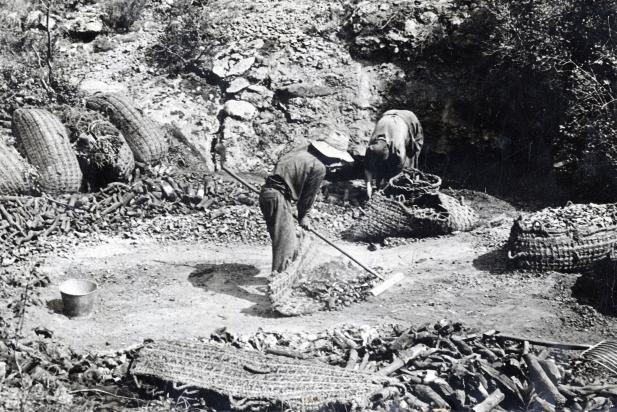La feina dels carboners en una imatge dels anys 50-60