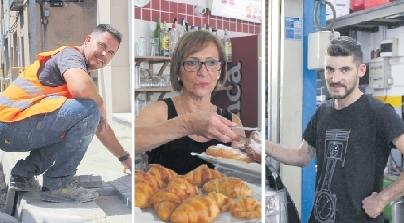 D'esquerra a dreta: Sánchez, fent una vorera; Valero, servint un esmorzar, i Giménez, revisant un motor / C. D.