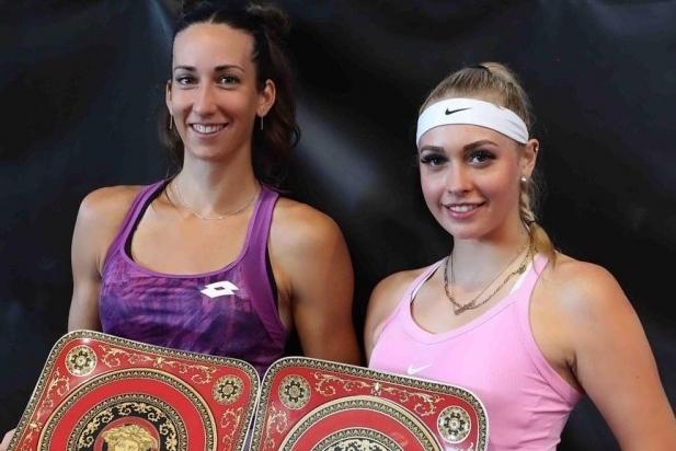 Garcia (esquerra) amb la seva companya Stollar, campiones del torneig de Székesfehérvár. || cedida
