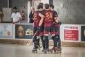 Els jugadors de l'HC Castellar celebren un gol al Dani Pedrosa.