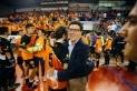 El president Francesc Gallardo durant la final a quatre de la Copa Catalunya a Manresa.