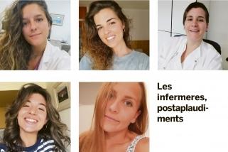 El testimoni de cinc infermeres castellarenques. A dalt, d'esquerra a dreta: Irene Montllor i Judit Sández. Al mig: Sara Béjar i Alèxia Clos. A baix: Glòria Timoneda.  || L'Actual
