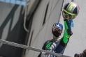 Carmelo Morales celebra la victòria en la segona cursa de Superbike del CEV a Los Arcos.