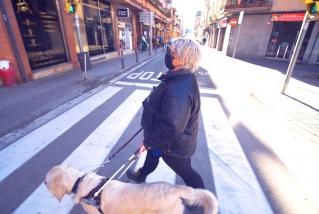 La Pamela creua el carrer de Sant Pere Ullastre amb el seu gos pigall