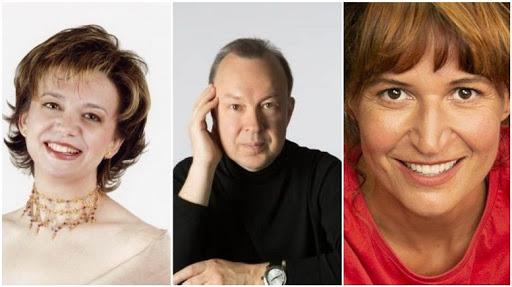 Mireia Pintó, Vladislav Bronevetzky  i Sílvia Bel porten a escena 'Amb veu de dona'. ||CEDIDA