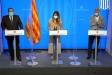 El conseller d'Interior, Joan Ignasi Elena; la portaveu del govern, Patrícia Plaja, i el titular de Salut, Josep Maria Argimon, en una roda de premsa - CEDIDA